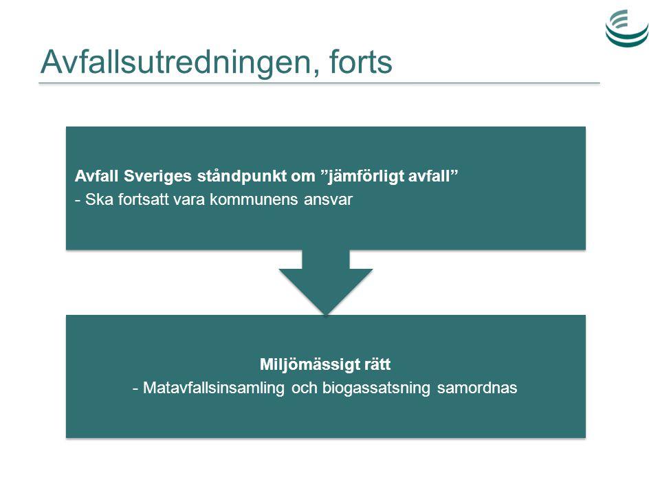 """Avfallsutredningen, forts Miljömässigt rätt - Matavfallsinsamling och biogassatsning samordnas Avfall Sveriges ståndpunkt om """"jämförligt avfall"""" - Ska"""