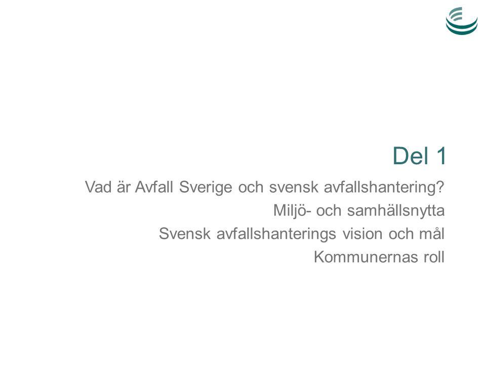 Del 1 Vad är Avfall Sverige och svensk avfallshantering? Miljö- och samhällsnytta Svensk avfallshanterings vision och mål Kommunernas roll