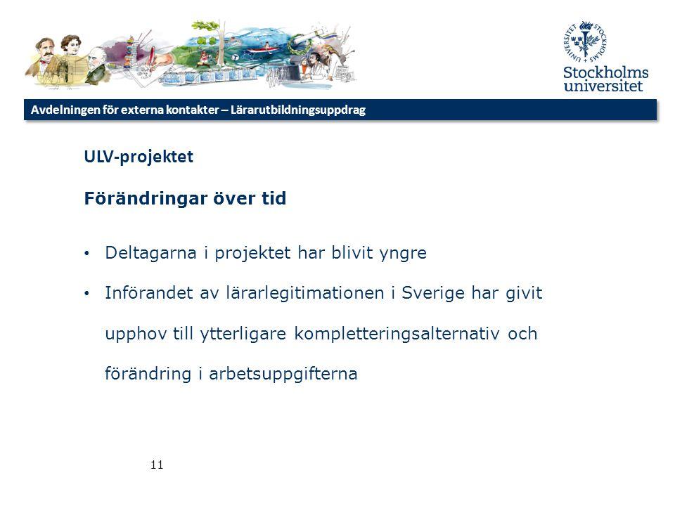 11 ULV-projektet Förändringar över tid • Deltagarna i projektet har blivit yngre • Införandet av lärarlegitimationen i Sverige har givit upphov till y