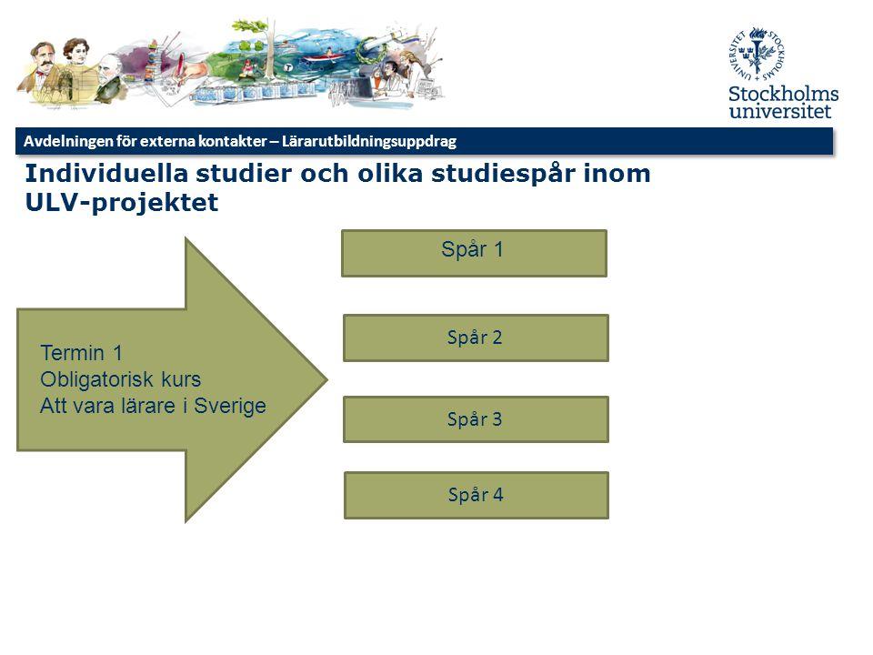 Individuella studier och olika studiespår inom ULV-projektet Termin 1 Obligatorisk kurs Att vara lärare i Sverige Spår 1 Spår 2 Spår 3 Spår 4 Avdelnin