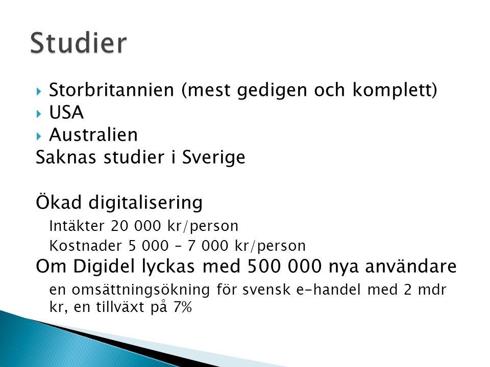  Storbritannien (mest gedigen och komplett)  USA  Australien Saknas studier i Sverige Ökad digitalisering Intäkter 20 000 kr/person Kostnader 5 000 – 7 000 kr/person Om Digidel lyckas med 500 000 nya användare en omsättningsökning för svensk e-handel med 2 mdr kr, en tillväxt på 7%