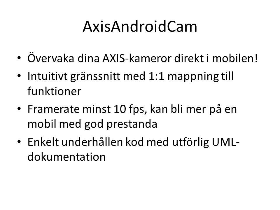 AxisAndroidCam • Övervaka dina AXIS-kameror direkt i mobilen! • Intuitivt gränssnitt med 1:1 mappning till funktioner • Framerate minst 10 fps, kan bl