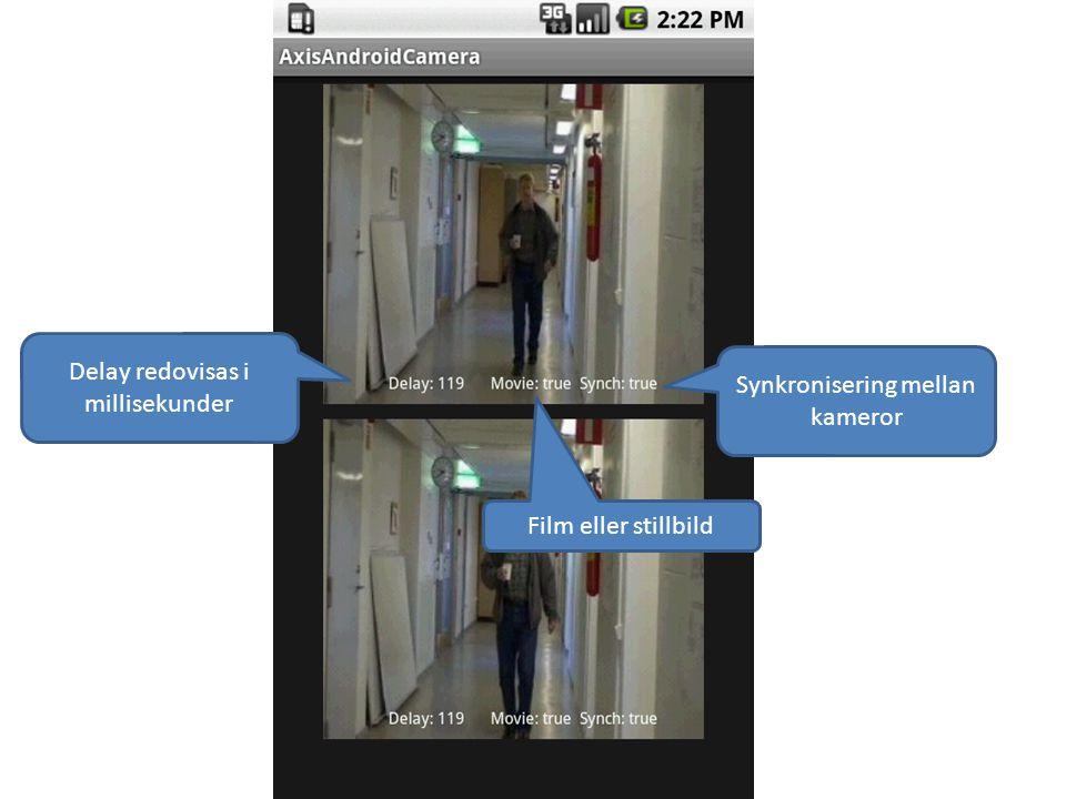Delay redovisas i millisekunder Synkronisering mellan kameror Film eller stillbild