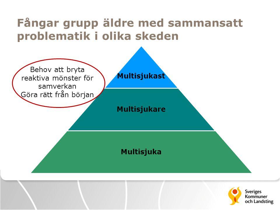 Fångar grupp äldre med sammansatt problematik i olika skeden Multisjukast Multisjukare Multisjuka Behov att bryta reaktiva mönster för samverkan Göra