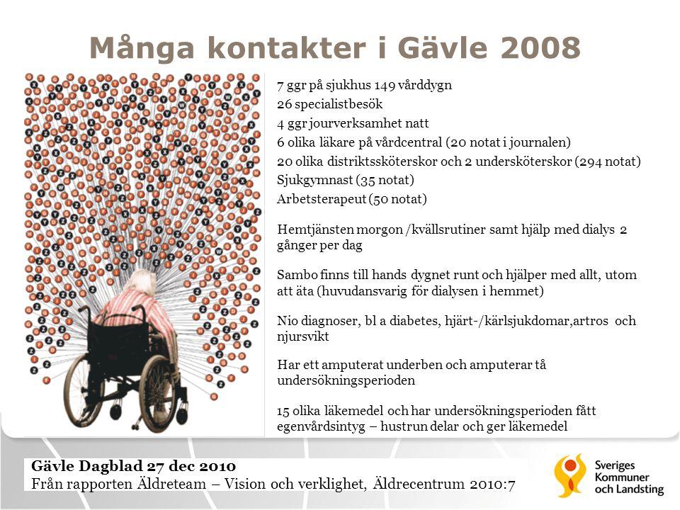Många kontakter i Gävle 2008 7 ggr på sjukhus 149 vårddygn 26 specialistbesök 4 ggr jourverksamhet natt 6 olika läkare på vårdcentral (20 notat i jour