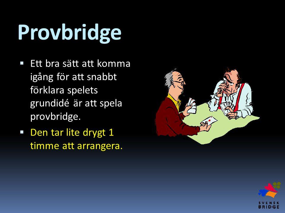 Provbridge  Ett bra sätt att komma igång för att snabbt förklara spelets grundidé är att spela provbridge.  Den tar lite drygt 1 timme att arrangera