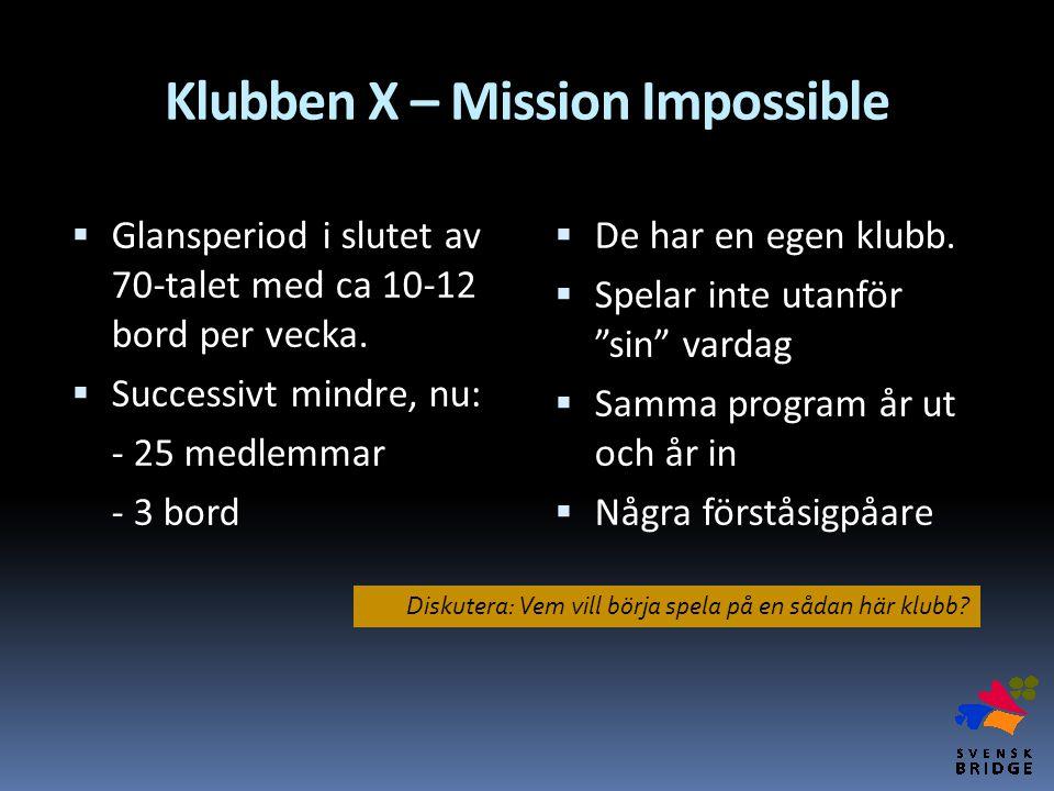"""Klubben X – Mission Impossible  De har en egen klubb.  Spelar inte utanför """"sin"""" vardag  Samma program år ut och år in  Några förståsigpåare  Gla"""