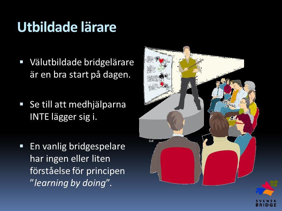 Utbildade lärare  Välutbildade bridgelärare är en bra start på dagen.  Se till att medhjälparna INTE lägger sig i.  En vanlig bridgespelare har ing