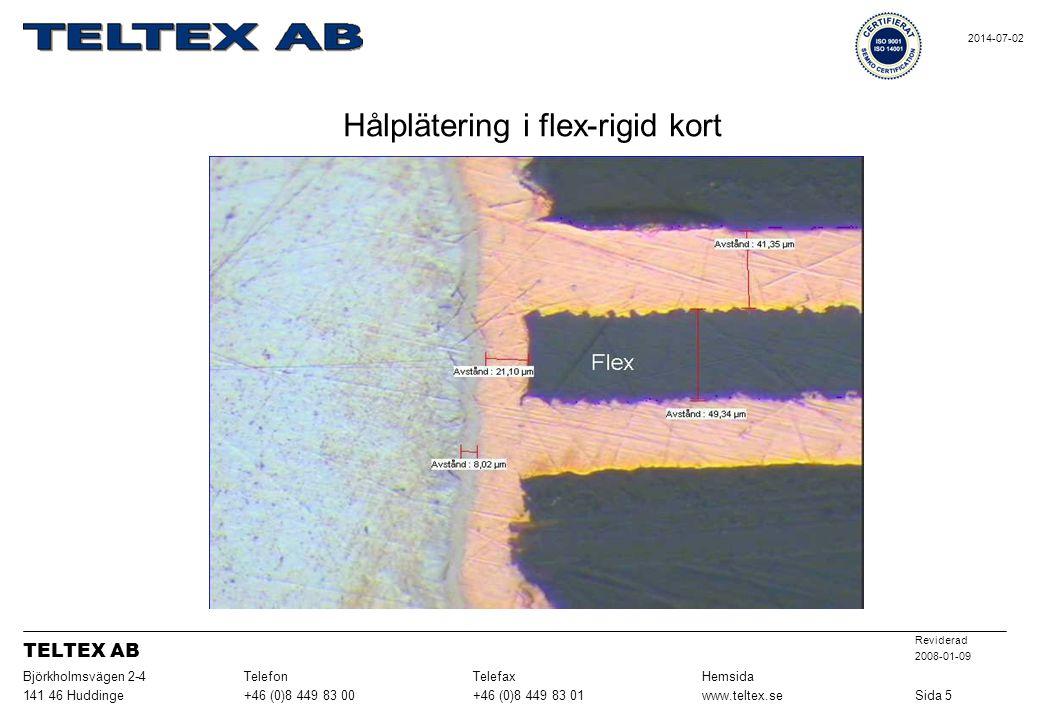 Hålplätering i flex-rigid kort Sida 5www.teltex.se+46 (0)8 449 83 01+46 (0)8 449 83 00141 46 Huddinge HemsidaTelefaxTelefonBjörkholmsvägen 2-4 Revider