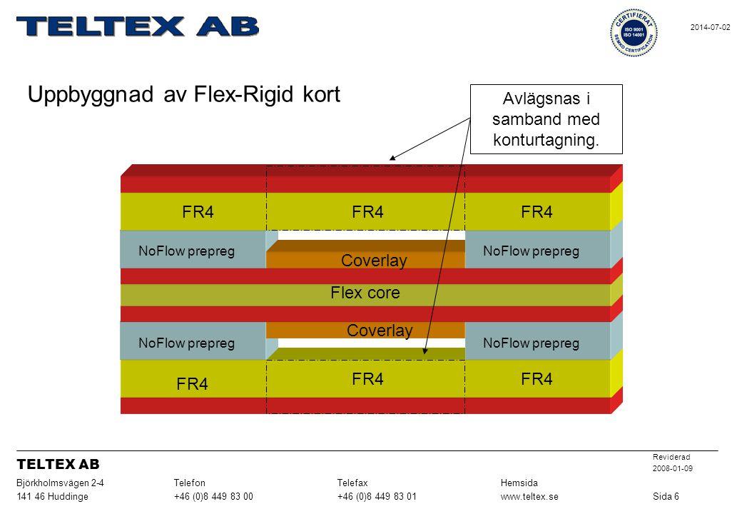 Coverlay FR4 Flex core Coverlay Avlägsnas i samband med konturtagning. NoFlow prepreg FR4 Uppbyggnad av Flex-Rigid kort Sida 6www.teltex.se+46 (0)8 44