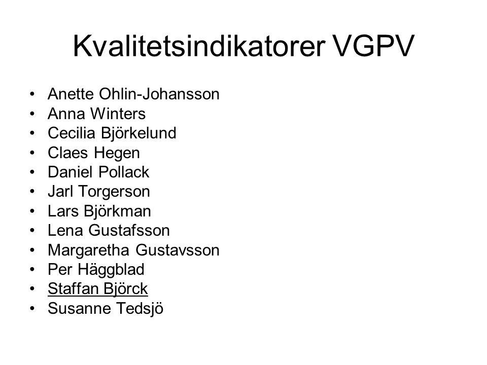 Kvalitetsindikatorer VGPV •Anette Ohlin-Johansson •Anna Winters •Cecilia Björkelund •Claes Hegen •Daniel Pollack •Jarl Torgerson •Lars Björkman •Lena