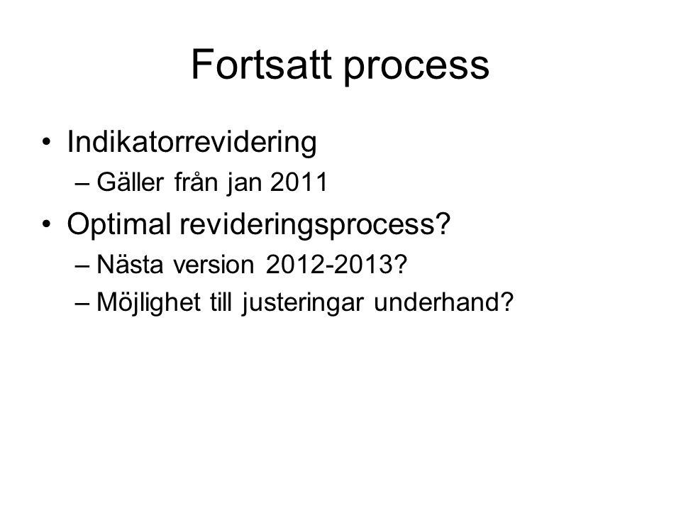 Fortsatt process •Indikatorrevidering –Gäller från jan 2011 •Optimal revideringsprocess? –Nästa version 2012-2013? –Möjlighet till justeringar underha