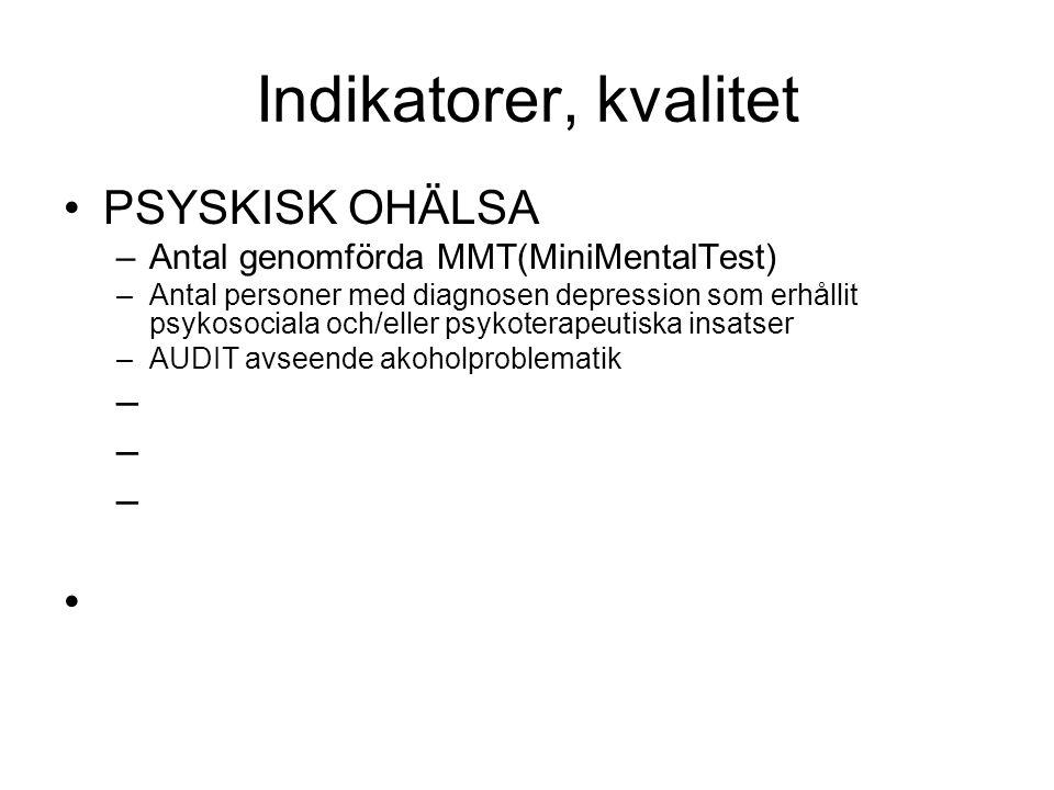 Indikatorer, kvalitet •PSYSKISK OHÄLSA –Antal genomförda MMT(MiniMentalTest) –Antal personer med diagnosen depression som erhållit psykosociala och/el