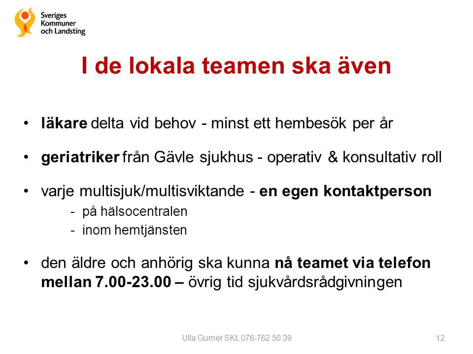 I de lokala teamen ska även •läkare delta vid behov - minst ett hembesök per år •geriatriker från Gävle sjukhus - operativ & konsultativ roll •varje m