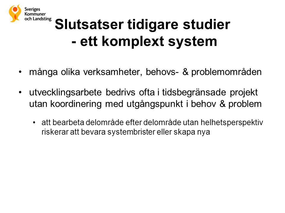 Slutsatser tidigare studier - ett komplext system •många olika verksamheter, behovs- & problemområden •utvecklingsarbete bedrivs ofta i tidsbegränsade
