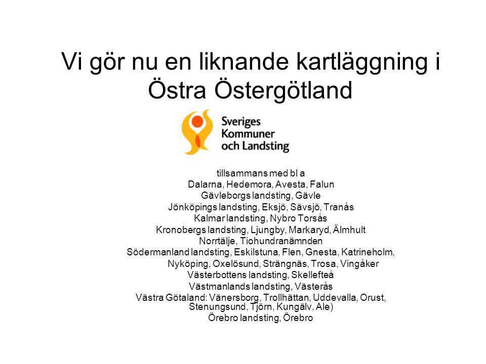Vi gör nu en liknande kartläggning i Östra Östergötland tillsammans med bl a Dalarna, Hedemora, Avesta, Falun Gävleborgs landsting, Gävle Jönköpings l