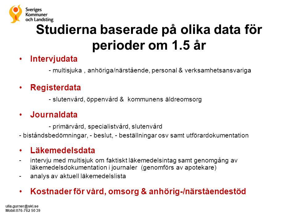 ulla.gurner@skl.se Mobil:076-762 50 39 Studierna baserade på olika data för perioder om 1.5 år •Intervjudata - multisjuka, anhöriga/närstående, person