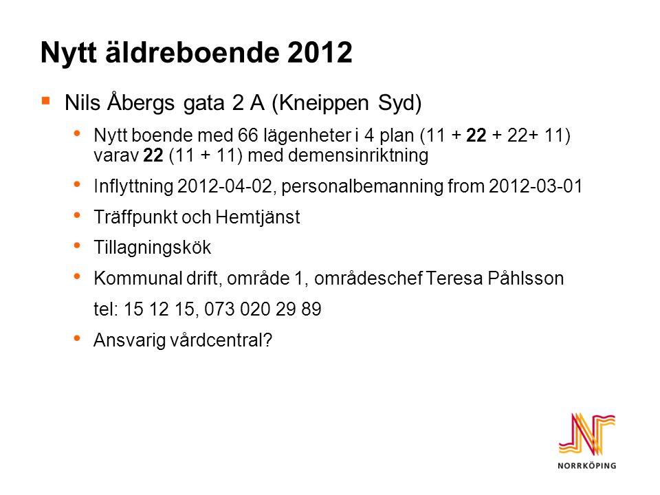 Nytt äldreboende 2012  Nils Åbergs gata 2 A (Kneippen Syd) • Nytt boende med 66 lägenheter i 4 plan (11 + 22 + 22+ 11) varav 22 (11 + 11) med demensinriktning • Inflyttning 2012-04-02, personalbemanning from 2012-03-01 • Träffpunkt och Hemtjänst • Tillagningskök • Kommunal drift, område 1, områdeschef Teresa Påhlsson tel: 15 12 15, 073 020 29 89 • Ansvarig vårdcentral?