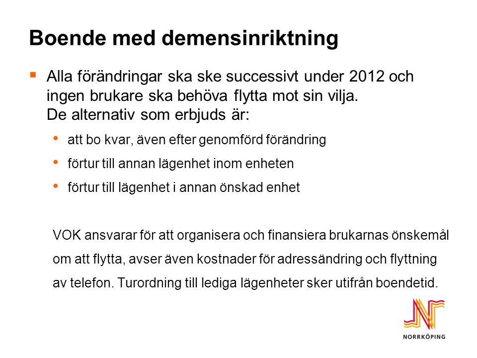 Boende med demensinriktning  Alla förändringar ska ske successivt under 2012 och ingen brukare ska behöva flytta mot sin vilja.