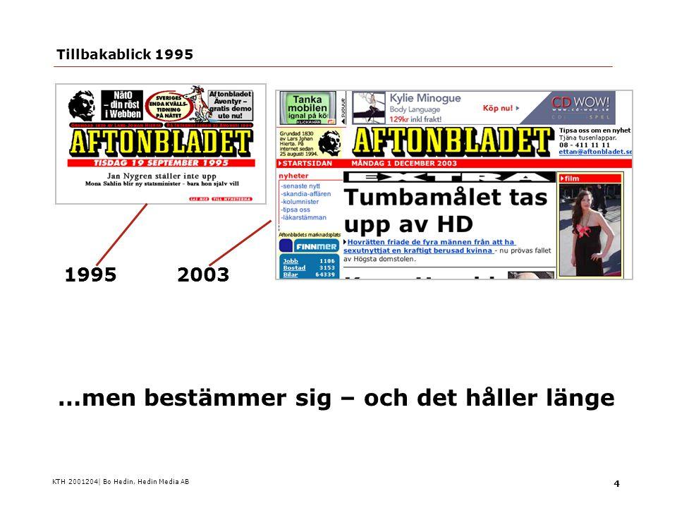 KTH 2001204| Bo Hedin, Hedin Media AB 15  Den trogne och traditionelle  The scanner  The supersonic  Stämmer bra med Nordic Eyetrack (Lunds universitet, 2003)  Förändring går delvis rasande snabbt Läsartyper (enligt Mario Garcia)