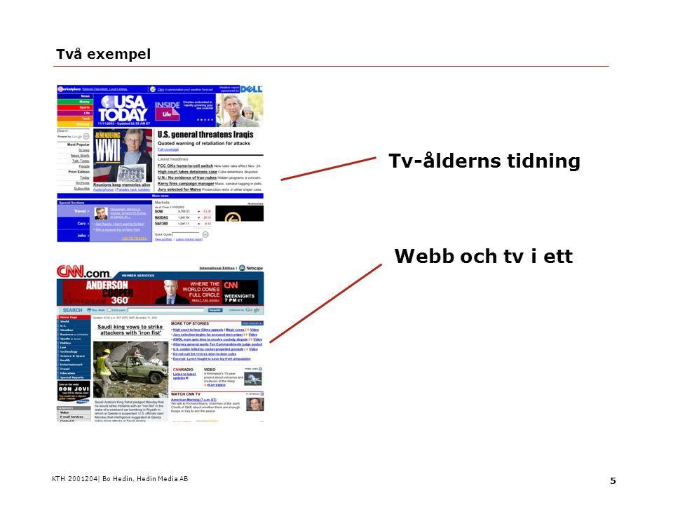 KTH 2001204| Bo Hedin, Hedin Media AB 26 Medierna: Rätt få bra exempel  Aftonbladet, tv4.se, DI/TV4  Sydsvenskan, instant messaging  Stockholm City, SMS-tidningen  E24 som skulle bli papperstidning  Darling, Silikon, från andra hållet, nu nedlagda  Papper+nät  Tv+nät  Nät+ip-tv  Papper+telecom