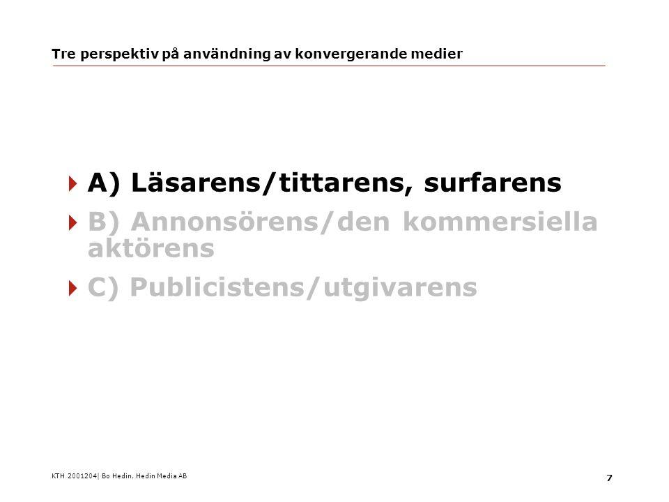 KTH 2001204| Bo Hedin, Hedin Media AB 18 Tre perspektiv på användning av konvergerande medier  A) Läsarens/tittarens, surfarens…  B) Annonsörens/den kommersiella aktörens  C) Publicistens/utgivarens