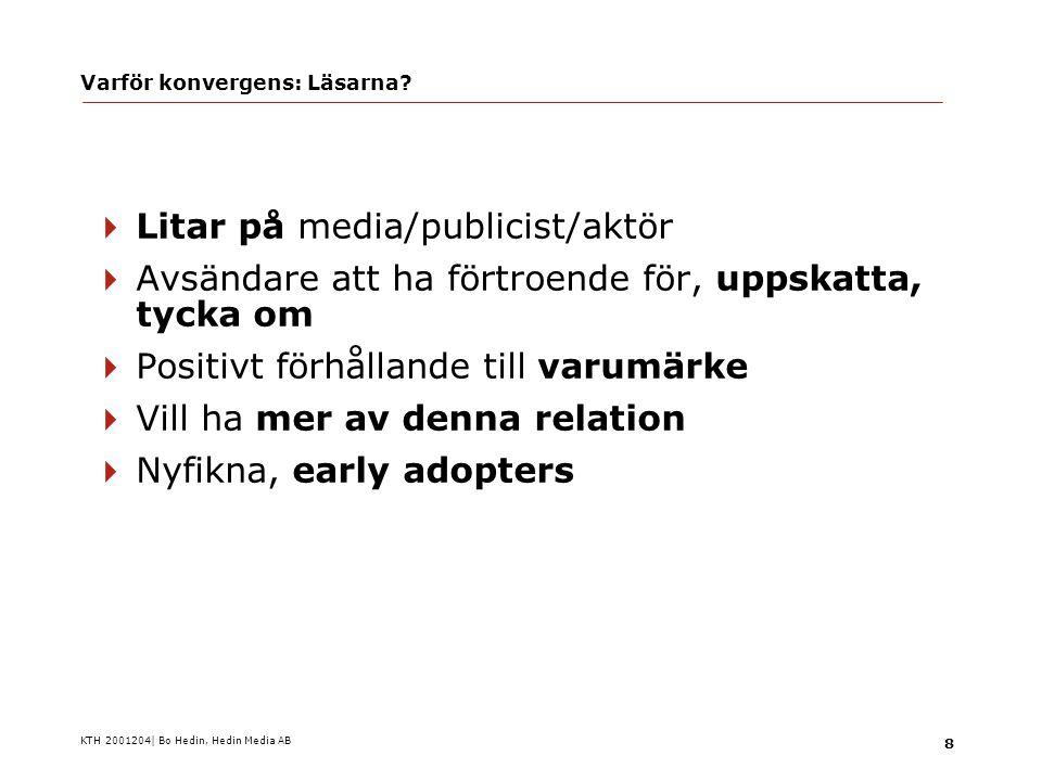 KTH 2001204| Bo Hedin, Hedin Media AB 19 Varför konvergens: Annonsörerna.