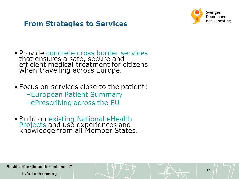 Beställarfunktionen för nationell IT i vård och omsorg 10 From Strategies to Services •Provide concrete cross border services that ensures a safe, sec