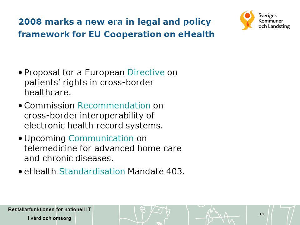 Beställarfunktionen för nationell IT i vård och omsorg 11 2008 marks a new era in legal and policy framework for EU Cooperation on eHealth •Proposal f