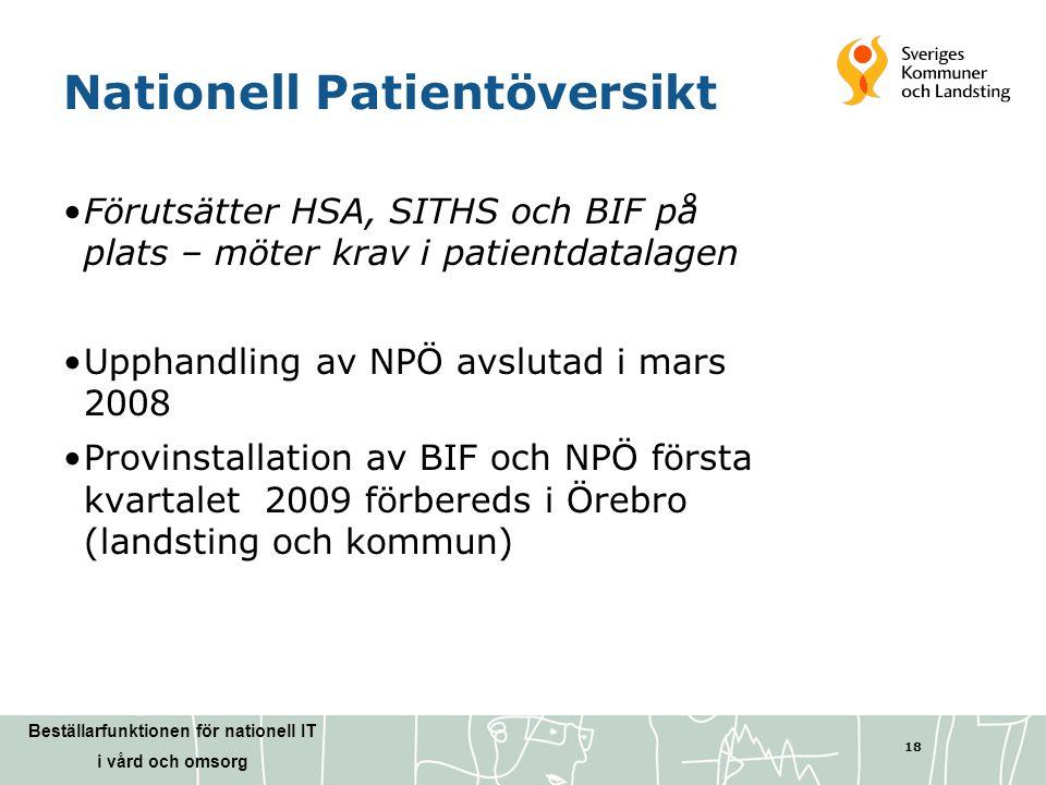 Beställarfunktionen för nationell IT i vård och omsorg 18 Nationell Patientöversikt •Förutsätter HSA, SITHS och BIF på plats – möter krav i patientdat