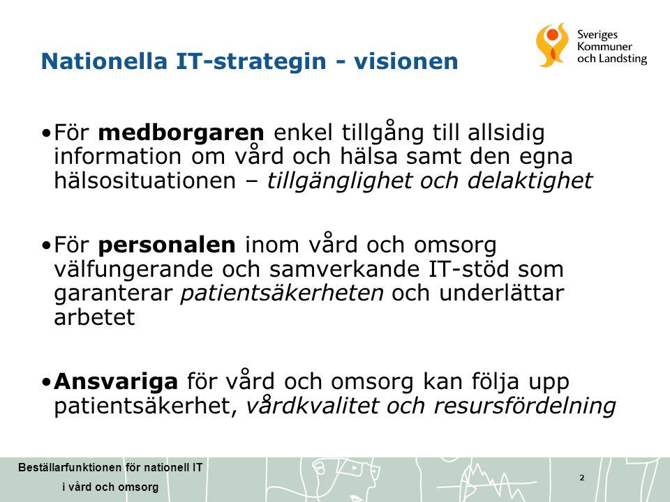 Beställarfunktionen för nationell IT i vård och omsorg 2 Nationella IT-strategin - visionen •För medborgaren enkel tillgång till allsidig information