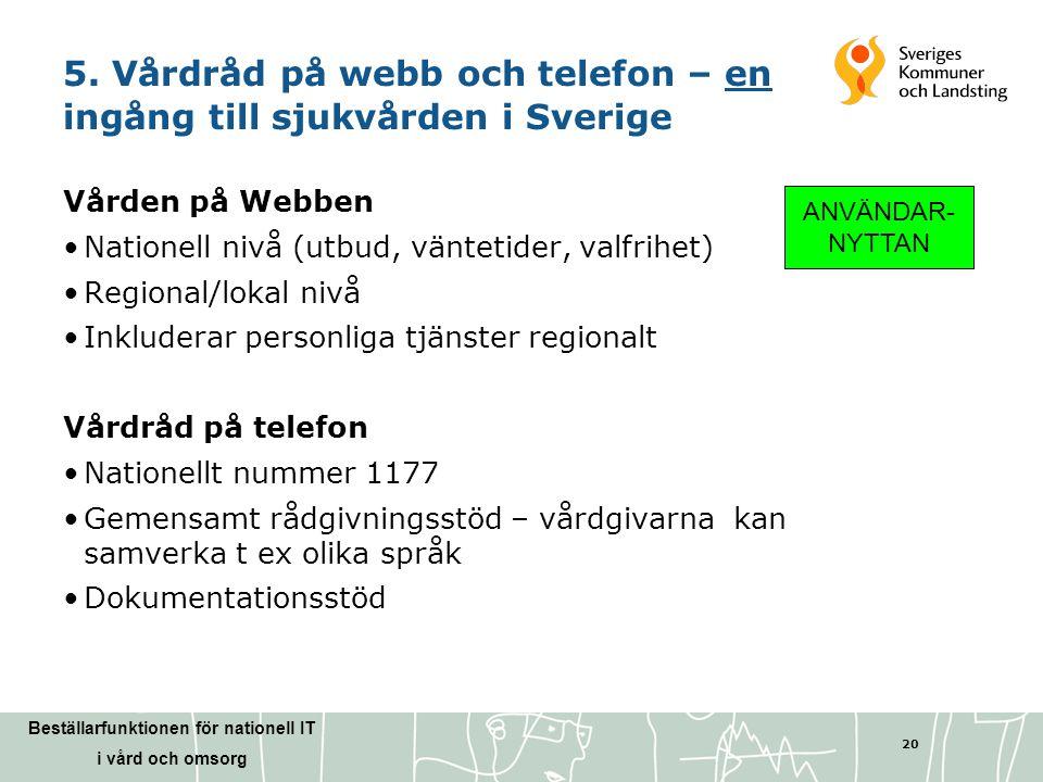 Beställarfunktionen för nationell IT i vård och omsorg 20 5. Vårdråd på webb och telefon – en ingång till sjukvården i Sverige Vården på Webben •Natio