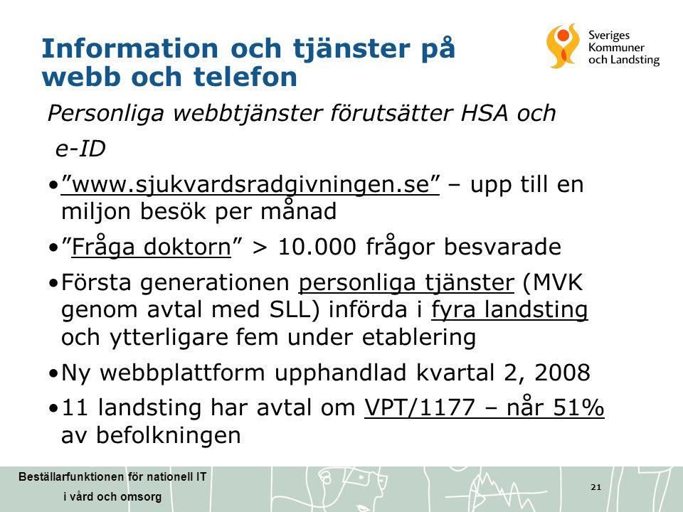 Beställarfunktionen för nationell IT i vård och omsorg 21 Information och tjänster på webb och telefon Personliga webbtjänster förutsätter HSA och e-I