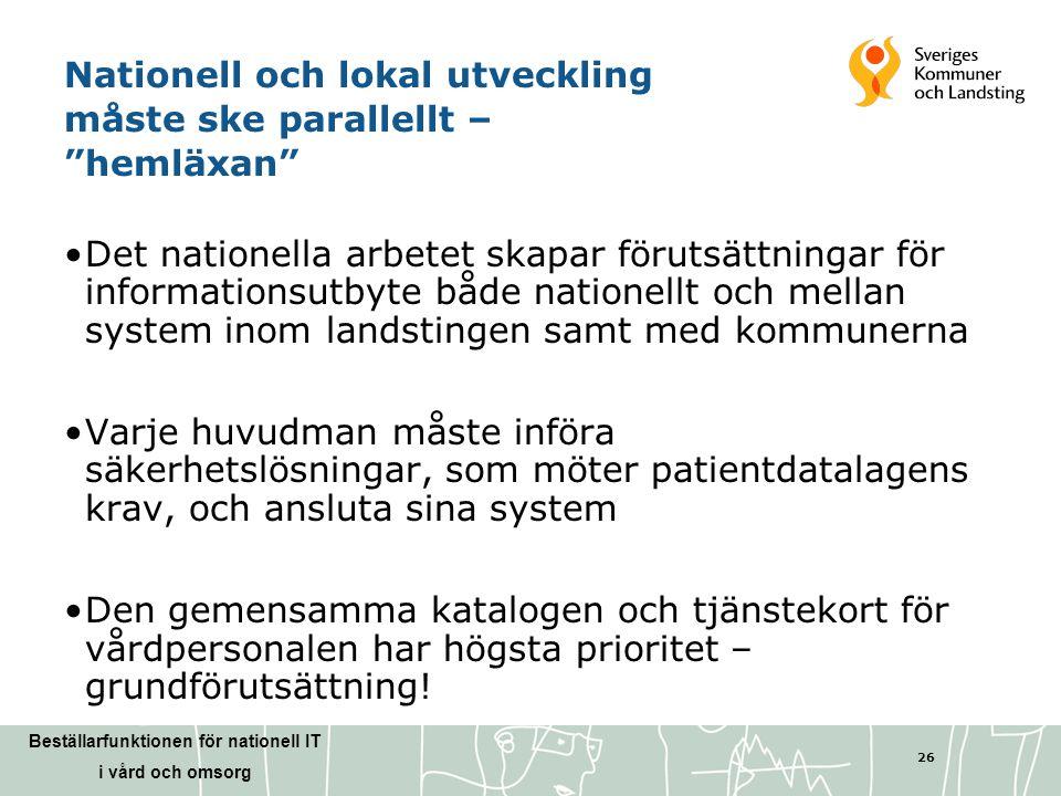 """Beställarfunktionen för nationell IT i vård och omsorg 26 Nationell och lokal utveckling måste ske parallellt – """"hemläxan"""" •Det nationella arbetet ska"""