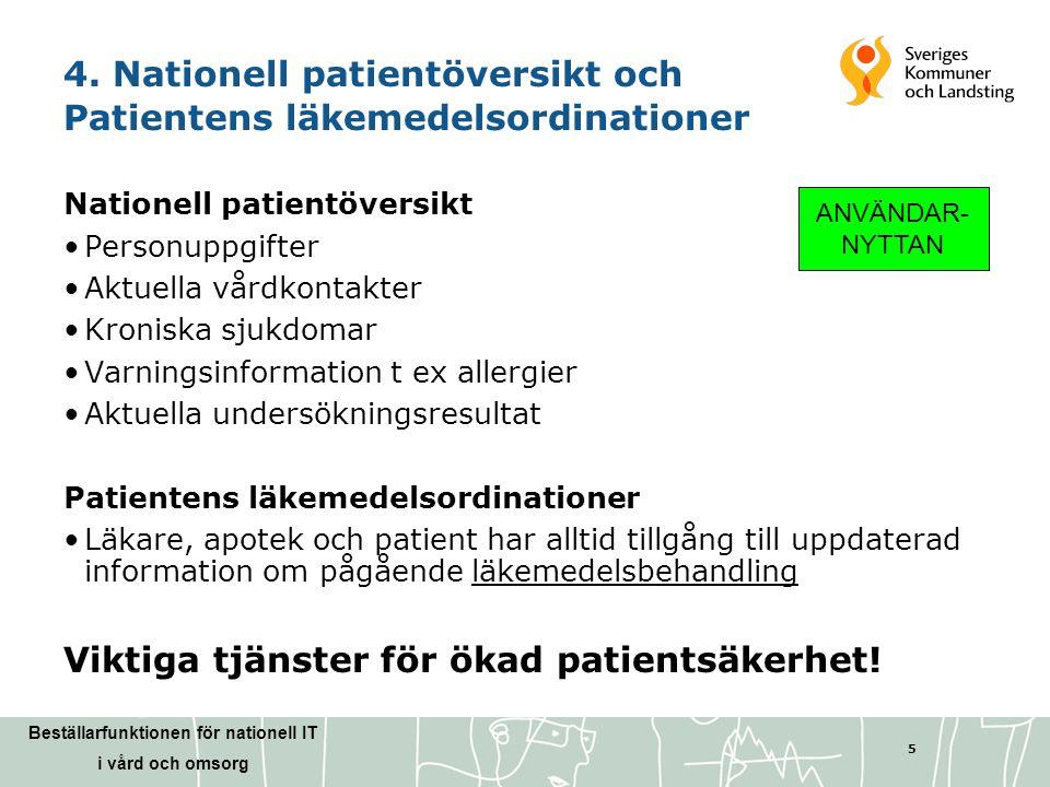 Beställarfunktionen för nationell IT i vård och omsorg 5 4. Nationell patientöversikt och Patientens läkemedelsordinationer Nationell patientöversikt