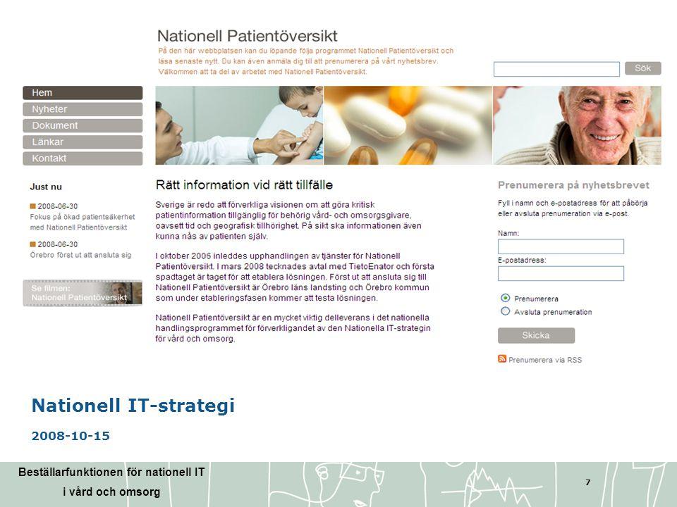 Beställarfunktionen för nationell IT i vård och omsorg 28 Tack för uppmärksamheten.