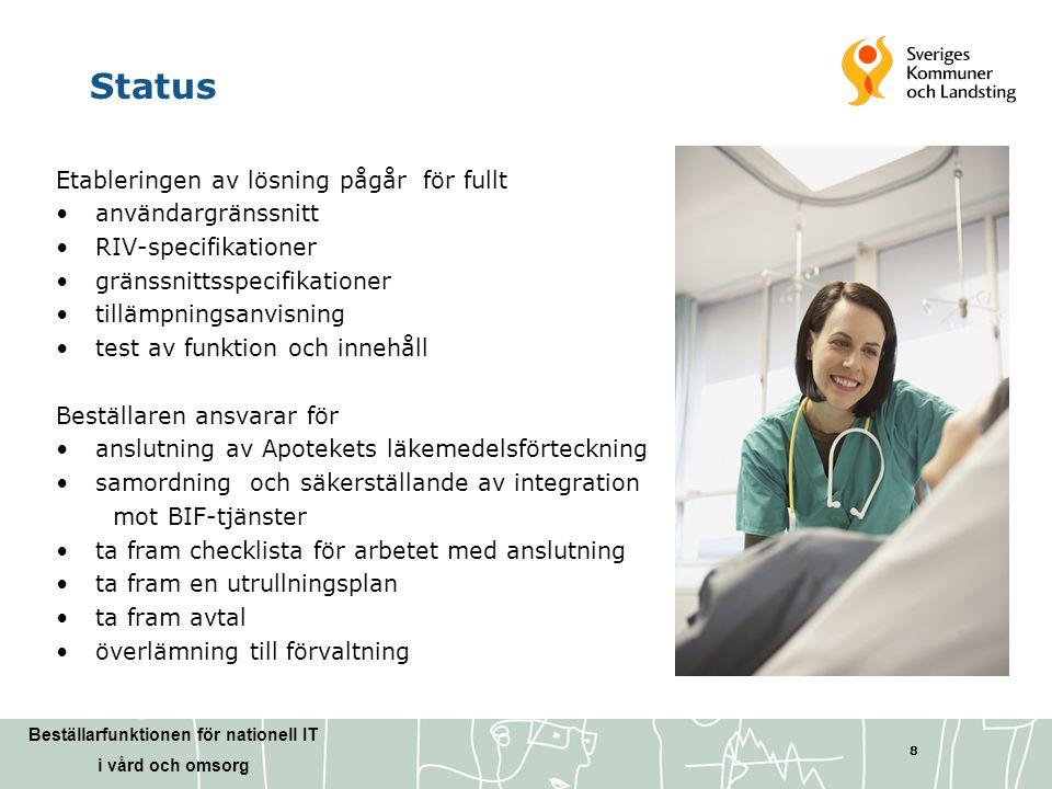 Beställarfunktionen för nationell IT i vård och omsorg 8 Status Etableringen av lösning pågår för fullt •användargränssnitt •RIV-specifikationer •grän