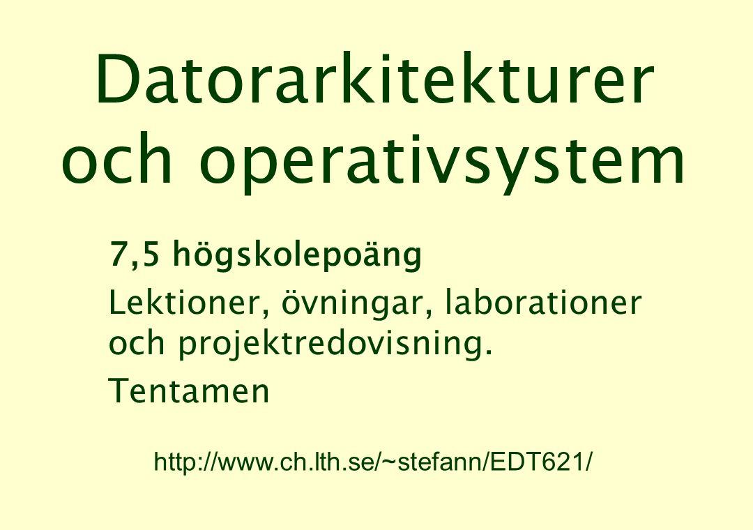 Delkurser •Datorarkitekturer: –7 lektionstillfällen –4 laborationer •Operativsystem: –5 lektionstillfällen Avslutande projektredovisning.