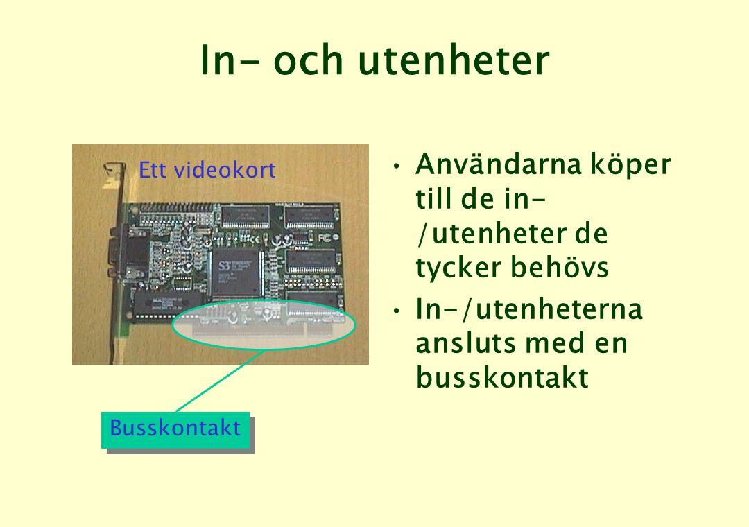 In- och utenheter •Användarna köper till de in- /utenheter de tycker behövs •In-/utenheterna ansluts med en busskontakt Busskontakt Ett videokort