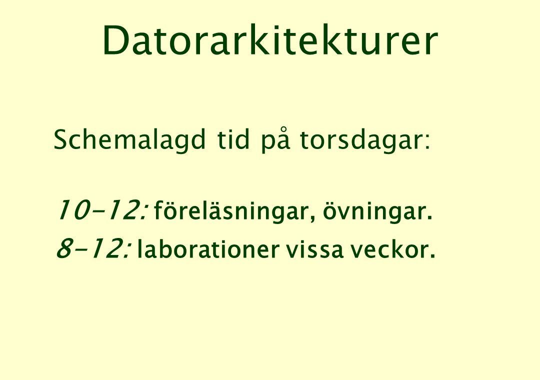 Datorarkitekturer Schemalagd tid på torsdagar: 10-12: föreläsningar, övningar.