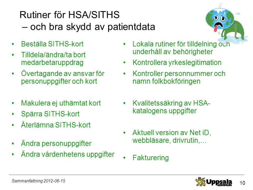 10 Sammanfattning 2012-06-15 Rutiner för HSA/SITHS – och bra skydd av patientdata •Beställa SITHS-kort •Tilldela/ändra/ta bort medarbetaruppdrag •Över