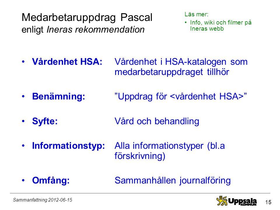 15 Sammanfattning 2012-06-15 Medarbetaruppdrag Pascal enligt Ineras rekommendation •Vårdenhet HSA: •Benämning: •Syfte: •Informationstyp: •Omfång: Vård