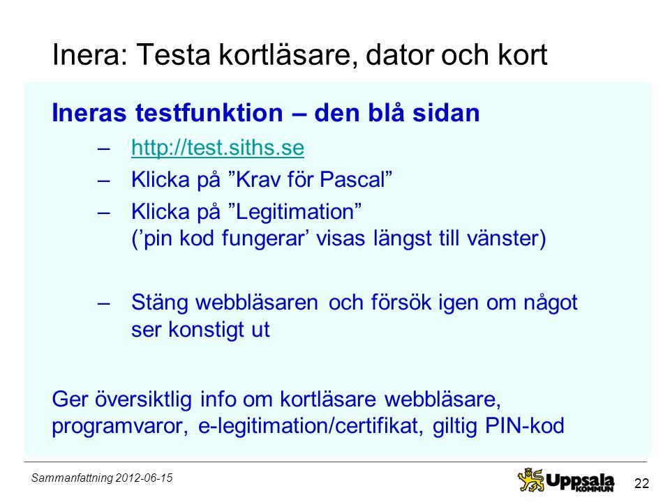22 Sammanfattning 2012-06-15 Inera: Testa kortläsare, dator och kort Ineras testfunktion – den blå sidan –http://test.siths.sehttp://test.siths.se –Kl