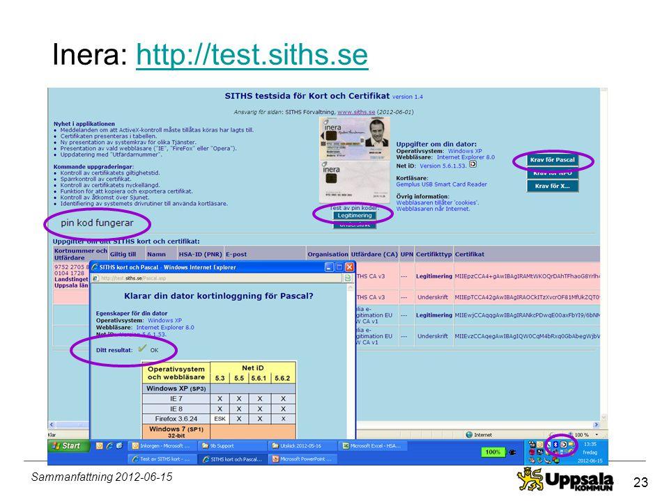 23 Sammanfattning 2012-06-15 Inera: http://test.siths.sehttp://test.siths.se