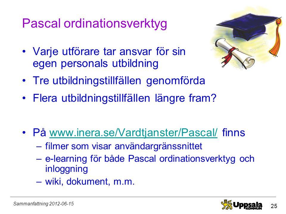 25 Sammanfattning 2012-06-15 Pascal ordinationsverktyg •Varje utförare tar ansvar för sin egen personals utbildning •Tre utbildningstillfällen genomfö