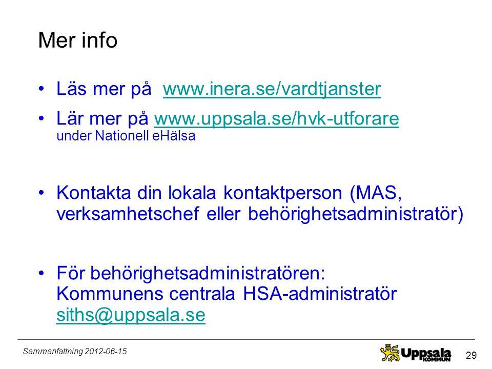 29 Sammanfattning 2012-06-15 Mer info •Läs mer på www.inera.se/vardtjansterwww.inera.se/vardtjanster •Lär mer på www.uppsala.se/hvk-utforare under Nat