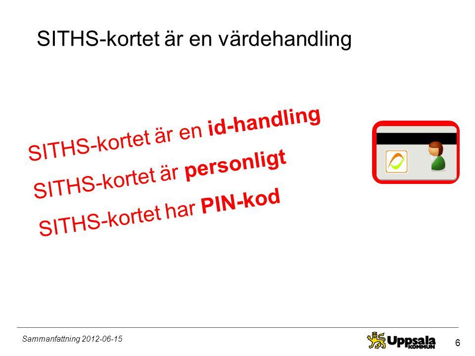 6 Sammanfattning 2012-06-15 SITHS-kortet är en värdehandling SITHS-kortet är en id-handling SITHS-kortet är personligt SITHS-kortet har PIN-kod