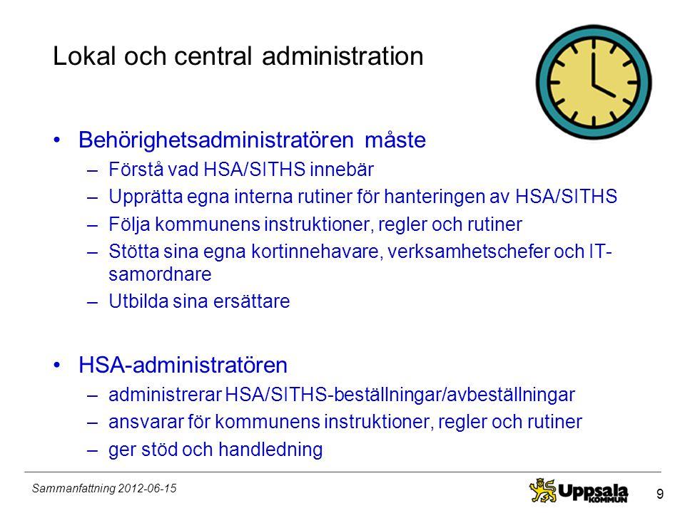 9 Sammanfattning 2012-06-15 Lokal och central administration •Behörighetsadministratören måste –Förstå vad HSA/SITHS innebär –Upprätta egna interna ru