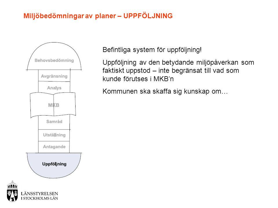 Miljöbedömningar av planer – UPPFÖLJNING Befintliga system för uppföljning.
