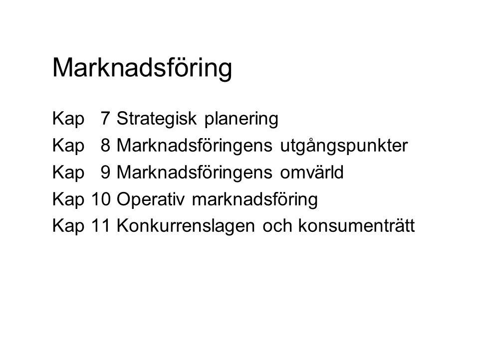 Marknadsföring Kap 7 Strategisk planering Kap 8 Marknadsföringens utgångspunkter Kap 9 Marknadsföringens omvärld Kap 10 Operativ marknadsföring Kap 11